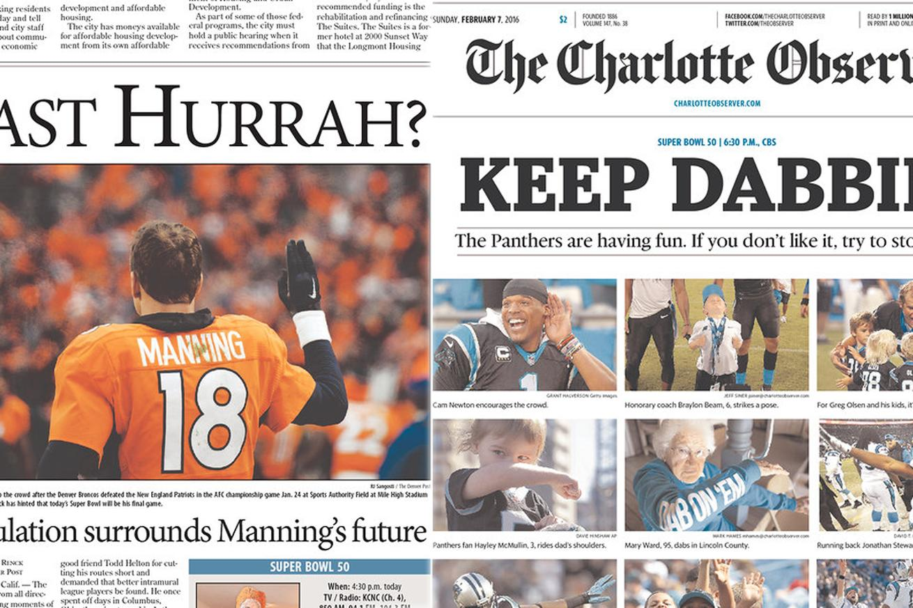 The Super Bowl front pages for Colorado and North Carolina newspapers couldn't be more different