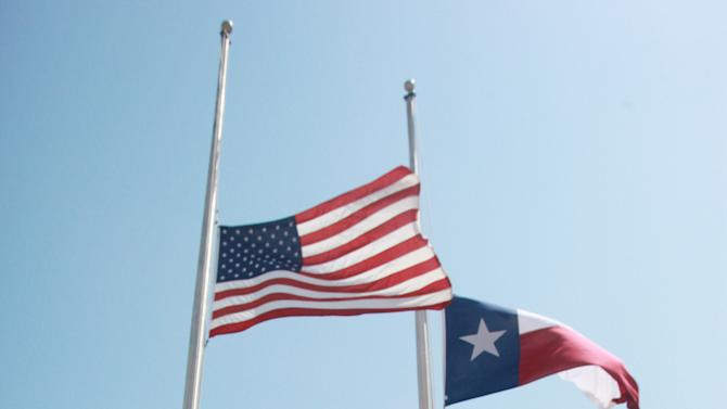 Flags fly at half-mast at the Brown County Sherriff's Office and Brownwood Police Department in Brownwood, Texas in honor of  Shannon Stone  Friday, July 8, 2011. Stone died after falling over a rail at a Texas Rangers baseballl game Thursday, July 7. (AP Photo/ Jeffery Washington)