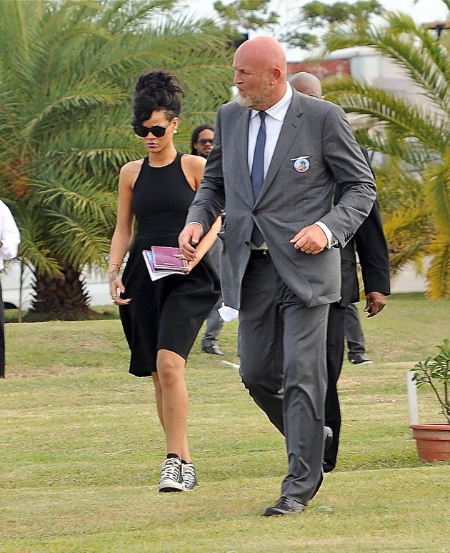Rihanna at her grandmother's funeral