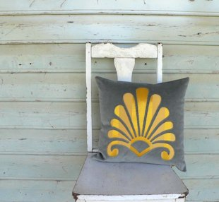 pillow cushion, reverse applique, gold renaissance