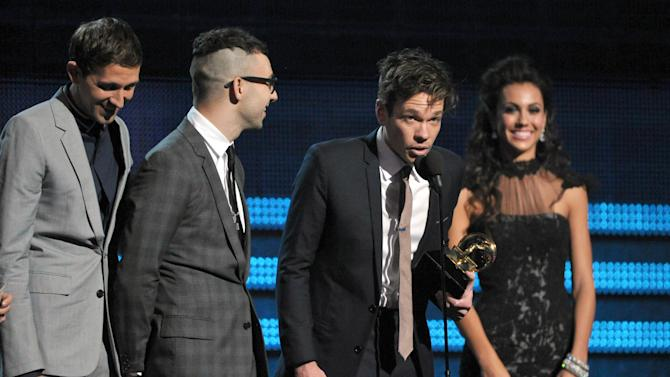"members of fun., from left, Nate Ruess, Andrew Dost and Jack Antonoff accept the award for song of the year for ""We Are Young"" at the 55th annual Grammy Awards on Sunday, Feb. 10, 2013, in Los Angeles. (Photo by John Shearer/Invision/AP)"