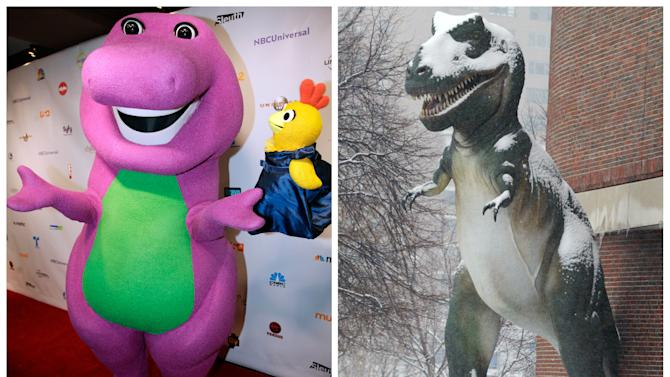 This combination of 2011 and 2003 file photos shows Barney the Dinosaur, left, in Chicago and a Tyrannosaurus Rex model outside the Museum of Science in Boston. Did T. rex stand upright, with its tail on the ground? No. But a lot of young people seem to think so, a study suggests. The authors concluded they soaked up the wrong idea from toys, games and other pop culture items. (AP Photo/Nam Y. Huh, Bizuayehu Tesfaye)