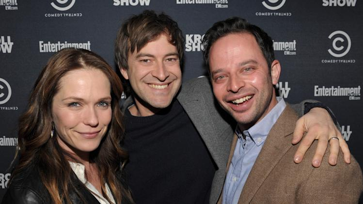 "IMAGE DISTRIBUTED FOR ENTERTAINMENT WEEKLY - From left, actors Katie Aselton, Mark Duplass and Nick Kroll attend an exclusive screening of Comedy Central's ""Kroll Show"" hosted by Entertainment Weekly on Tuesday, January 15, 2013 at LA's Silent Movie Theatre in Los Angeles. (Photo by John Shearer/Invision for Entertainment Weekly/AP Images)"