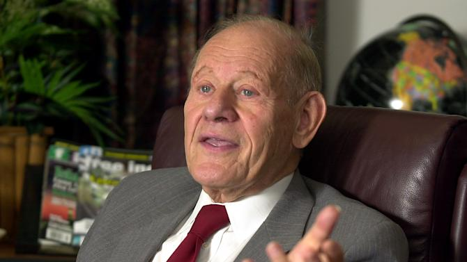 FILE - In a July 20, 2004 file photo, Paul Kurtz, Chairman of the Center for Inquiry, responds to a question during an interview in his office in Amherst, N.Y.  Kurtz, the secular humanist philosopher died Saturday, Oct. 20, 2012 at his home in the Buffalo suburb of Amherst, N.Y. His death was announced Monday, Oct. 22, by the Center for Inquiry, which he founded. (AP Photo/Don Heupel, File)