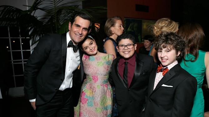 From left, actors Ty Burrell, Ariel Winter, Rico Rodriguez and Nolan Gould attend the Fox Golden Globes Party on Sunday, January 13, 2013, in Beverly Hills, Calif. (Photo by Todd Williamson/Invision for Fox Searchlight/AP Images)