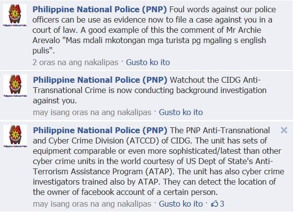 The Philippine National Police late Monday warned Facebook users that posting negative comments on its page may subject individuals to criminal investigations. (Photo from the Filipino Freethinkers)
