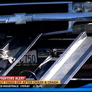 Suspect takes off after chase, crash