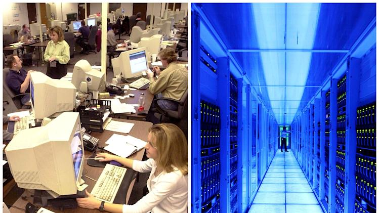 This combination of Associated Press file photos shows, left, an information technology room in 2001, in Hurst, Texas, and right, a SAP server room in  2012, in Walldorf, Germany. SAP allows companies to use cloud computing to track sales and inventory without needing to hire IT employees.  (AP Photo)