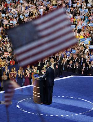 President Barack Obama speaks at the Democratic National Convention in Charlotte, N.C., Thursday, Sept. 6, 2012. (AP Photo/Pablo Martinez Monsivais)