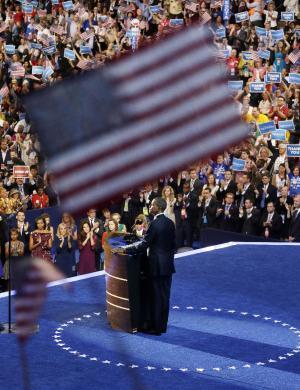 President Barack Obama speaks at the Democratic National Convention in Charlotte, N.C., Thursday, Sept. 6, 2012. (AP Photo/Pablo Martinez Monsivais)