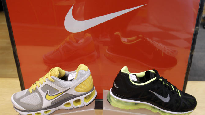 In this March 15, 2011 photo, Nike shoes are displayed at a shoe store in San Francisco. Nike Inc. reports quarterly financial results Monday, June 27, 2011, after the market close. (AP Photo)