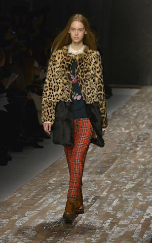 A model wears a creation of the Blugirl women's Fall-Winter 2013-14 winter collection, unveiled in Milan, Italy, Thursday, Feb. 21, 2013. (AP Photo/Mario Cartelli, LaPresse)  ITALY OUT