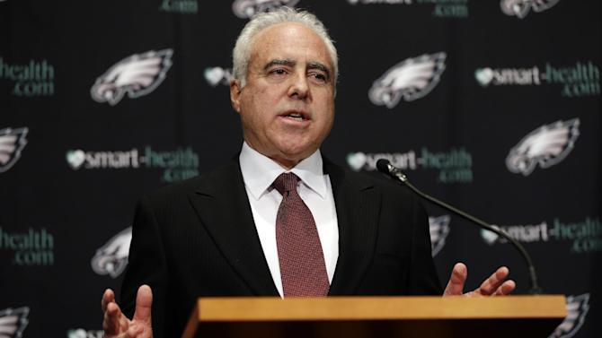 "Philadelphia Eagles owner Jeffrey Lurie speaks to members of the media during a news conference at the team's NFL football training facility, Monday, Dec. 31, 2012, in Philadelphia. Andy Reid's worst coaching season with the Eagles ended Monday after 14 years when he was fired by Lurie, who said it was time ""to move in a new direction."" (AP Photo/Matt Rourke)"