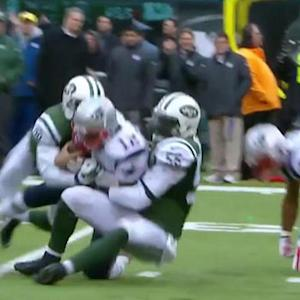 New England Patriots quarterback Tom Brady sacked for loss of 8 yards