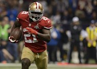 Frank Gore of the San Francisco 49ers runs with the ball against the Baltimore Ravens during Super Bowl XLVII on February 3, 2013 in New Orleans, Louisiana