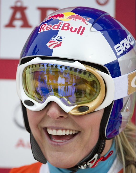 US' s Lindsey Vonn reacts as she finishes the second run of the FIS Alpine Ski World Cup women's giant slalom in Are, Sweden, on March 9, 2012.  Lindsey Vonn of the United States clinched the fourth o