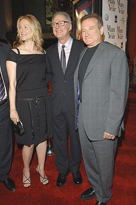 Laura Linney , Barry Levinson , director and Robin Williams , at the Los Angeles premiere of Universal Pictures' Man of the Year