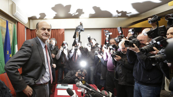 FILE -- In this file photo taken on Jan. 24, 2013, center-left coalition leader Pierluigi Bersani poses prior to the start of a press conference in Rome. The ascent of Bersani _ whose camp in late January enjoyed roughly 33 percent support against some 27 percent for the Berlusconi side _ also has much to do with his ability to draw on the former Communist Party's entrenched network of activists, funding and economic connections, such as business cooperatives. (AP Photo/Alessandra Tarantino)