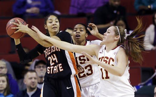 USC women defeat Oregon State 64-57
