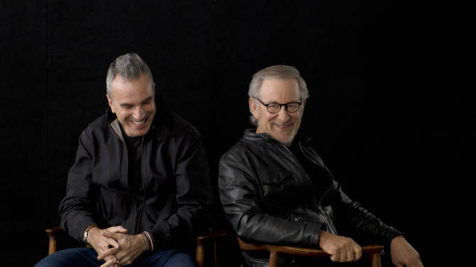 """This September 4, 2012 publicity photo provided by DreamWorks and Twentieth Century Fox, shows actor, Daniel Day-Lewis, left, and director, Steven Spielberg, posing for a portrait in New York. Day-Lewis stars as Abraham Lincoln in the new Spielberg directed film, """"Lincoln."""" Spielberg was nominated  for an Academy Award for best director on Thursday, Jan. 10, 2013, for """"Lincoln."""" Lewis was nominated for best actor. The 85th Academy Awards will air live on Sunday, Feb. 24, 2013 on ABC.   (AP Photo/DreamWorks, Twentieth Century Fox, Kevin Lynch, File)"""
