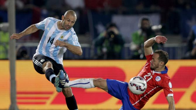 Argentina's Mascherano kicks the ball next to Chile's Diaz during their Copa America 2015 final soccer match at the National Stadium in Santiago