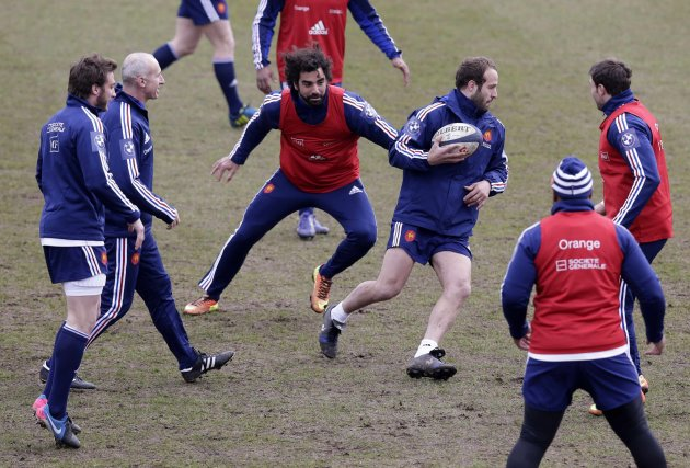 France's rugby players practice during a training session at the Rugby Union National Centre in Marcoussis