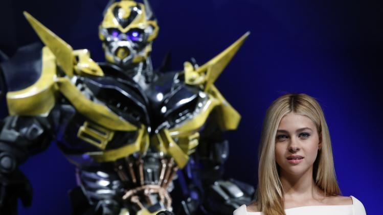 "Cast member Peltz attends a news conference for the movie ""Transformers: Age of Extinction"" in Tokyo"