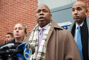 Borough presidents speak during a news conference at …