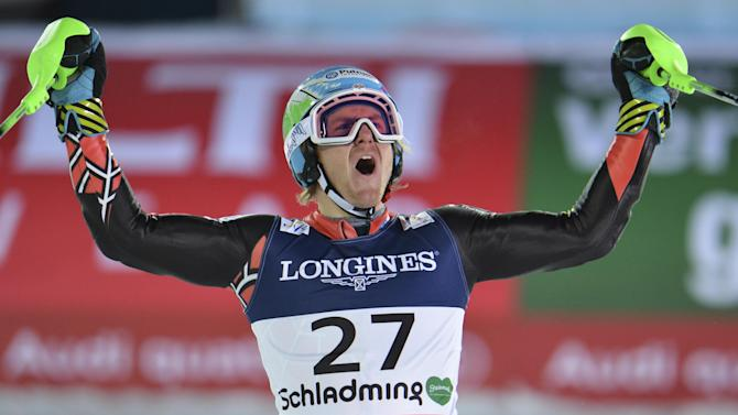 United States' Ted Ligety reacts after the slalom portion of the men's super-combined at the Alpine skiing world championships in Schladming, Austria, Monday, Feb. 11, 2013. (AP Photo/Kerstin Joensson)