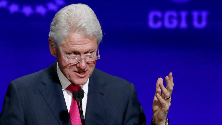 Former president Bill Clinton speaks at a student conference for the Clinton Global Initiative University at Arizona State University, Friday, March 21, 2014, in Tempe, Ariz. (AP Photo/Ross D. Franklin)