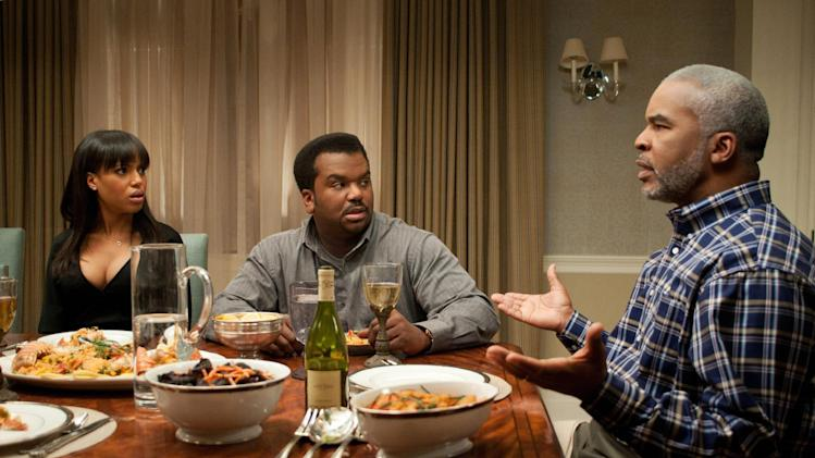 """This undated publicity photo released by Lionsgate shows, from left, Kerry Washington, as Grace Peeples, Craig Robinson as Wade Walker and David Alan Grier as Virgil Peeples in a scene from the film,""""Peeples.""""  (AP Photo/Lionsgate, Nicole Rivelli)"""