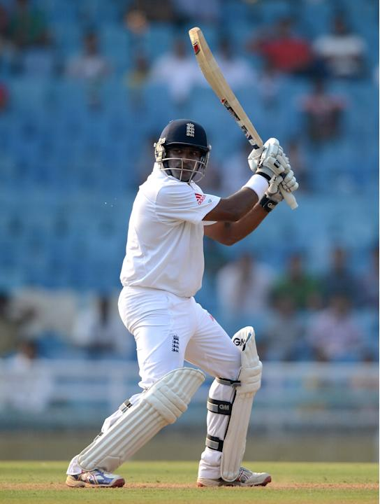 Samit Patel of England bats during day one of the tour match between Mumbai A and England at The Dr D.Y. Palit Sports Stadium on November 3, 2012 in Mumbai, India. (Photo by Gareth Copley/Getty Images