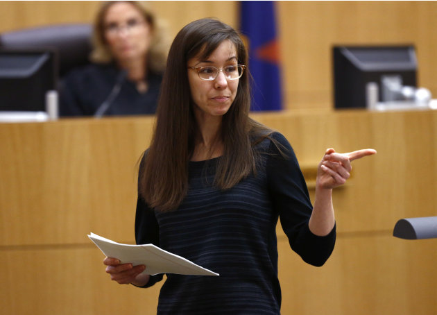 Jodi Arias points to her family as a reason for the jury to give her a life in prison sentence instead of the death penalty on Tuesday, May 21, 2013, during the penalty phase of her murder trial at Ma