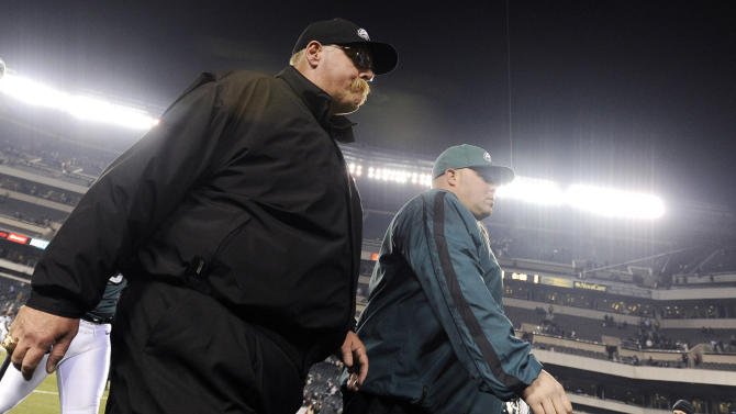 Philadelphia Eagles head coach Andy Reid walks off the field following an NFL football game against the Carolina Panthers, Monday, Nov. 26, 2012, in Philadelphia. Carolina won 30-22. (AP Photo/Michael Perez)