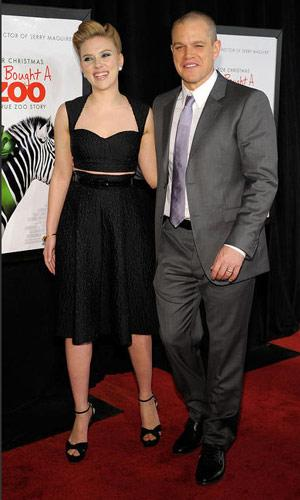 Scarlett Johansson and Matt Damon at the New York premiere of We Bought a Zoo on December 12, 2011. Photo by Ilya S. Savenok, Film Magic