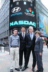 Hyundai Hope On Wheels Rings The NASDAQ Stock Market Closing Bell On Behalf Of Its Fight Against Pediatric Cancer