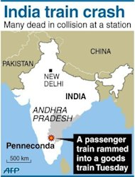 <p>Map showing Penneconda in India where at least 19 people were killed and 36 injured when a passenger train slammed into a stationary goods train</p>