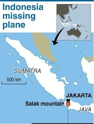Map showing the Salak mountain in Indonesia where rescuers on Thursday have intensified a search for a missing jet with about 50 people on board