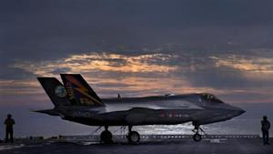 The F-35B variant of the Joint Strike Fighter sits on the deck of the USS Wasp off the coast of North Carolina