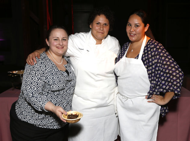 From left, Erica Moore, Teresa Montano and Christina Yanasaki, of Racion, at the 22nd Annual Environmental Media Awards on Saturday Sept. 29, 2012, at Warner Bros. Studios in Burbank, Calif. (Photo by