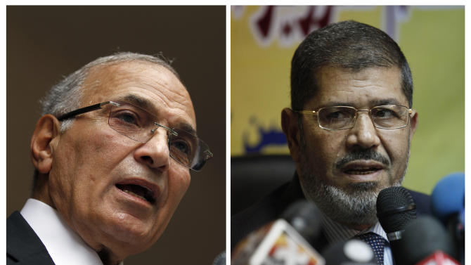 COMBO - This combination of two photos shows Egyptian presidential candidates, from left, Ahmed Shafiq, and Mohammed Morsi. Shafiq and Morsi were the top vote-getters after a two-day election on Wednesday and Thursday which none of the 13 candidates could win outright. Now, both must appeal to the roughly 50 percent of voters who cast ballots for someone else. (AP Photo/Khalil Hamra; Nasser Nasser)
