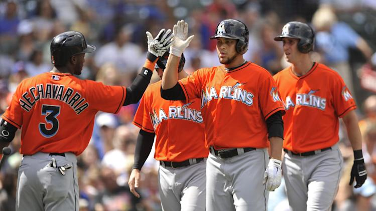Alvarez hit 1st career HR, leads Marlins past Cubs