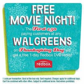 Walgreens and Redbox to Give Away 2 Million Redbox Movie Nights on Thanksgiving Day, Doubling Last Year's Thanksgiving Promotion