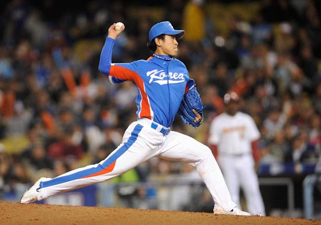 Starting pitcher Yoon Suk-Min during a World Baseball Classic match at Dodger Stadium in Los Angeles on March 21, 2009