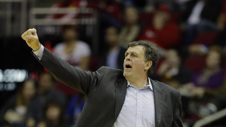 Houston Rockets coach Kevin McHale calls a play against the New