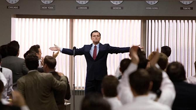 """This film image released by Paramount Pictures shows Leonardo DiCaprio as Jordan Belfort in a scene from """"The Wolf of Wall Street.""""(AP Photo/Paramount Pictures, Mary Cybulski)"""