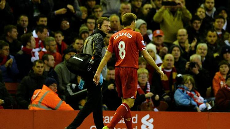 Liverpool's English midfielder Steven Gerrard is substituted during an English Premier League football match at Anfield in Liverpool on December 7, 2013