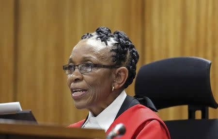 Judge Masipa speaks during the sentencing hearing of South African Olympic and Paralympic track star Pistorius at the North Gauteng High Court in Pretoria