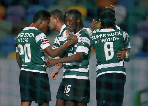 Sporting's Carlos Mane celebrates his goal during Portuguese premier league soccer match against Olhanense in Lisbon
