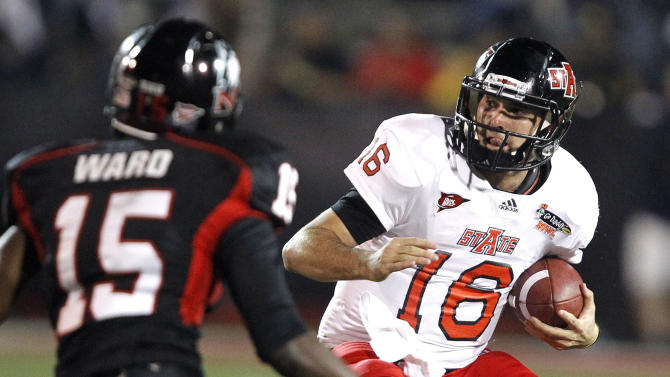 Arkansas State quarterback Ryan Aplin (16) scrambles away from pressure from Northern Illinois' Jimmie Ward (15) in the first half of the GoDaddy.com Bowl NCAA college football game on Sunday, Jan. 8, 2012, in Mobile, Ala.  (AP Photo/Butch Dill)